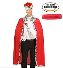 amazon com ponce fashion halloween king robe crown set red royal
