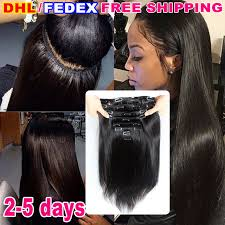 pics of black woman clip on hairstyle cheap 7a virgin brazilian straight clip in human hair extensions