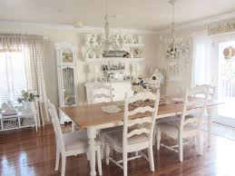 luxurious white cottage dining room ideas with long wooden dining