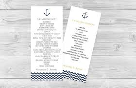 tea length wedding programs nautical navy anchor wave chevron tea length printable wedding