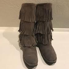 womens fringe boots size 11 s minnetonka fringe boots on poshmark