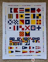 Nautical Code Flags Maritime Nautical Signal Flags Cross Stitch Sampler Chart Instant