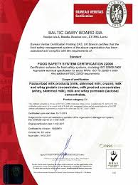 bureau veritas latvia sia baltic dairy board certified in accordance with the food