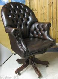 tufted leather desk chair mid century english chesterfield tufted leather office chair