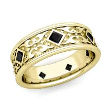 men in black wedding band celtic wedding band for men 14k gold princess cut black diamond ring