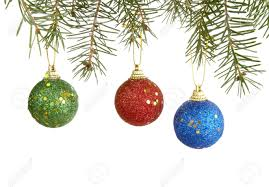 ornaments hanging on white background stock photo