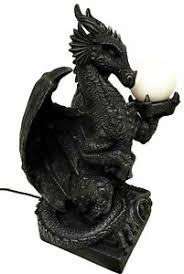 fantasy gothic medieval fire dragon holding orb light table lamp