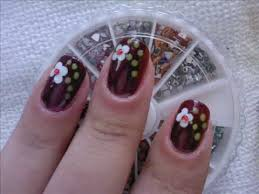 cute and easy flower with rhinestone nail art tutorial youtube