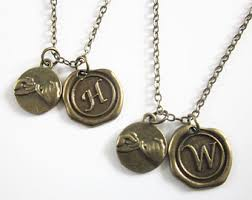 Necklaces With Initials His And Her Necklace Etsy