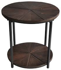 Rustic Round End Table Crestview Jackson Round Metal And Rustic Wood End Table Rustic