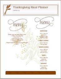 thanksgiving meal planner template ms word word excel templates