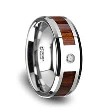 wood inlay wedding band kahuna tungsten carbide beveled edged diamond wedding band with