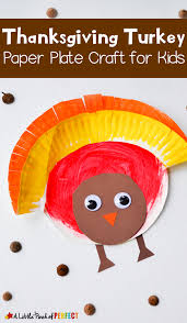 painted paper plate turkey craft to make for thanksgiving with