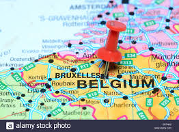 map brussels brussels pinned on a map of europe stock photo royalty free image