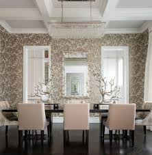 Wallpaper Designs For Dining Room Accent Wallpaper Ideas White Cotton Tablecloth Beige Wooden Dining