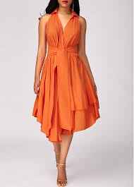 orange dress layered high waist asymmetric hem orange dress rosewe usd