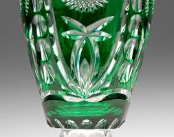 Bohemian Vase Green Cut To Clear Bohemian Glass Vase Engraved Horse Cameo