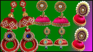 fancy jhumka earrings how to make designer chandbali silk thread earrings jhumkas w