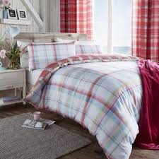 catherine lansfield st ives check duvet cover set