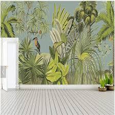 custom retro mural wallpaper tropical rain forest parrot palm leaf