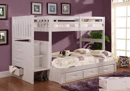 White Wooden Bunk Bed White Wooden Bunk Bed With Drawers Placed On The Brown Wooden