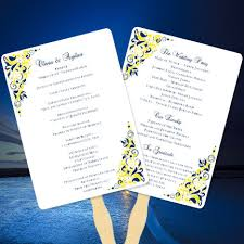 make your own wedding fan programs fan wedding programs navy blue yellow make your own fan