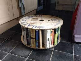 Cable Reel Table by Cable Reel Bookcase Coffee Table The Shop At Forty With Bookshelf