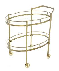 Kitchen Cart On Wheels by Oval Brass And Glass Two Tier Tea Cart On Wheels For Sale At 1stdibs
