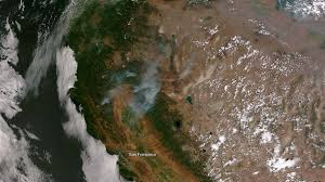 California Wildfire Satellite View by Wildfires Continue To Rage In The West