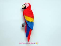 felt scarlet macaw parrot stuffed felt parrot magnet or
