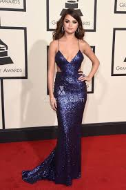 selena gomez grammys 2016 red carpet sequin navy blue mermaid prom