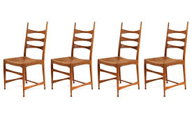 Red Modern Furniture by Four Paolo Buffa Sculpted Oak And Raffia Dining Chairs Red