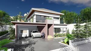 sketchup modeling modern 3 bedroom villa design size 13m7x15m