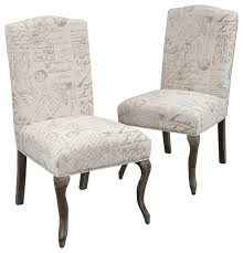Printed Dining Chairs French Script Dining Chairs Set Of 2 Traditional Dining