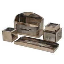 boris lacroix art deco glass and chrome paperweight modern desk