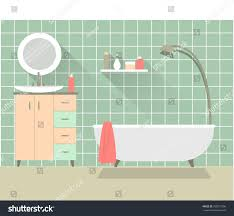 home interior bathroom interior design long stock vector 250871296