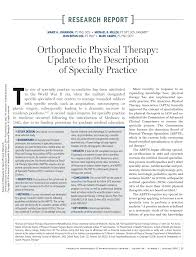 orthopaedic physical therapy update to the description of