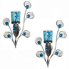 Flameless Candle Wall Sconce Set 2 Peacock Inspired Single Votive Candle Sconce Iron Glass Wall Decor