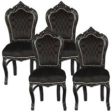 Amazing Set Of  Dining Room Chairs Baroque Gothic Black Velvet - Four dining room chairs