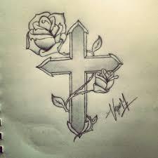 roses cross tattoos