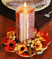 brown pillar candle centerpiece for thanksgiving table decorating