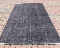 Large Low Pile Rug Gray Area Rug Etsy