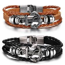 leather wrap bracelet with anchor images Mens bracelets leather and anchor bracelet fox jpg