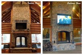 Sided Outdoor Fireplace - acucraft fireplaces custom see through wood burning indoor