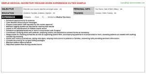 Sample Medical Secretary Resume by Medical Secretary Job Title Docs