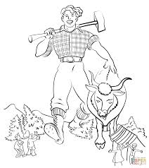 paul bunyan and the blue ox coloring page free printable