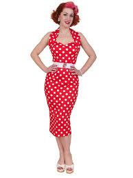 1950s halterneck pencil red polkadot dress from vivien of holloway