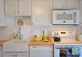 Backsplash In White Kitchen Kitchen Gorgeous White Kitchen With Apron Sink And Laminate