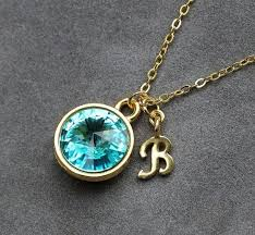zircon blue necklace images Initial birthstone jewelry december blue zircon necklace new jpg