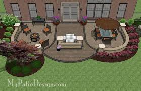Large Paver Patio Design With Grill Station Bar Plan No by Tub Patio Design With Seat Walls Download Plan